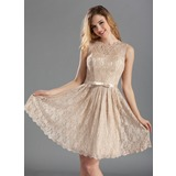 Lace Knee-length Jewel Neckline Bridesmaid Dress With A Charmeuse Bow (007019660)