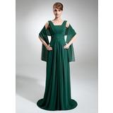 Empire-Linie Rechteckiger Ausschnitt Sweep/Pinsel zug Chiffon Kleid für die Brautmutter mit Rüschen Perlen verziert Pailletten (008006425)
