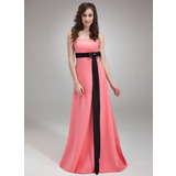 Empire Strapless Sweep Train Satin Bridesmaid Dress With Sash Beading Bow(s) (007001482)