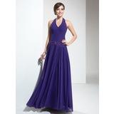 A-Line/Princess Halter Floor-Length Chiffon Bridesmaid Dress With Ruffle Beading (007001091)