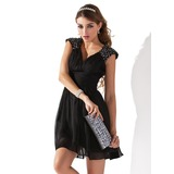 A-Line/Princess V-neck Short/Mini Chiffon Cocktail Dress With Ruffle Beading Sequins (016005831)