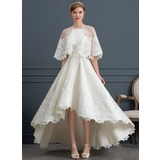 A-Line Square Neckline Asymmetrical Satin Wedding Dress With Lace Pockets (002171953)