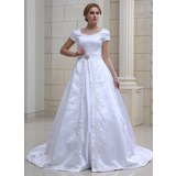 Forme Marquise Col V Traîne mi-longue Satiné Robe de mariée avec Broderie Broche en cristal (002001632)