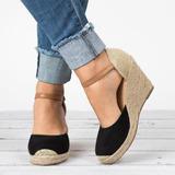 Frauen Samt Keil Absatz Sandalen Keile mit Zweiteiliger Stoff Schuhe (116200553)