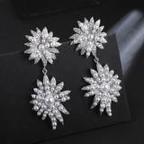 Flower Shaped Zircon Copper With Zircon Women's Fashion Earrings (Sold in a single piece) (137199485)