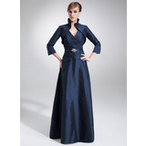 A-Line V-neck Floor-Length Taffeta Mother of the Bride Dress With Ruffle Beading (008006199)