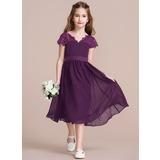 A-Line V-neck Knee-Length Chiffon Junior Bridesmaid Dress With Bow(s) (009097064)