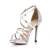 Femmes Cuir verni Talon stiletto Sandales À bout ouvert chaussures (087017925)