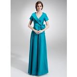 A-Linie/Princess-Linie V-Ausschnitt Bodenlang Taft Kleid für die Brautmutter mit Rüschen Schleife(n) (008006023)