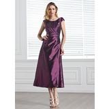 A-Line/Princess Scoop Neck Tea-Length Taffeta Bridesmaid Dress With Ruffle Beading Sequins (007005303)