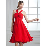 Empire V-neck Knee-Length Chiffon Bridesmaid Dress With Ruffle Bow(s) (007051834)