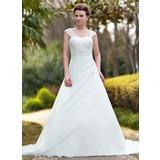 Balklänning Älskling Chapel släp Chiffong Bröllopsklänning med Rufsar Spets Beading (002011638)