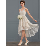 A-Line V-neck Asymmetrical Lace Wedding Dress (002127282)