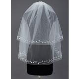 Zweischichtig Fingerspitze Braut Schleier mit Schnittkante (006039822)