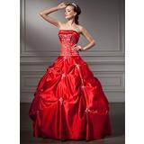 Duchesse-Linie Trägerlos Bodenlang Satin Quinceañera Kleid (Kleid für die Geburtstagsfeier) mit Bestickt Perlstickerei Pailletten (021004663)