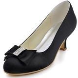 Vrouwen Satijn Closed Toe Pumps met Strik Strass (047039653)