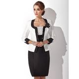 Etui-Linie Rechteckiger Ausschnitt Knielang Taft Kleid für die Brautmutter mit Rüschen (008006143)