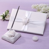 Simple Sash/Rose Guestbook & Pen Set (101037360)