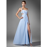 A-Line/Princess One-Shoulder Floor-Length Chiffon Prom Dresses With Ruffle Beading Sequins Split Front (018005108)