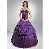 Duchesse-Linie Herzausschnitt Bodenlang Taft Quinceañera Kleid (Kleid für die Geburtstagsfeier) mit Rüschen Perlen verziert (021020608)