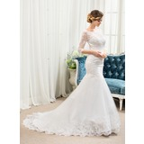 Trumpet/Mermaid Illusion Court Train Tulle Lace Wedding Dress With Beading (002054364)