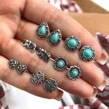 Vintage Alloy Resin Women's Fashion Earrings (Set of 6) (137197159)