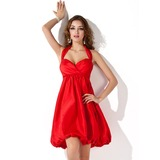 Empire Halter Short/Mini Taffeta Bridesmaid Dress With Ruffle (007004168)