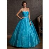 Duchesse-Linie Herzausschnitt Bodenlang Organza Quinceañera Kleid (Kleid für die Geburtstagsfeier) mit Rüschen Applikationen Spitze (021014937)