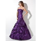 Trumpet/Mermaid Strapless Floor-Length Taffeta Prom Dress With Ruffle (018017414)