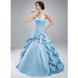 Duchesse-Linie Herzausschnitt Bodenlang Taft Tüll Quinceañera Kleid (Kleid für die Geburtstagsfeier) mit Rüschen Perlen verziert (021004692)