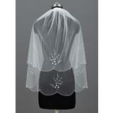 Zweischichtig Ellenbogen Braut Schleier mit Perlenbesetzter Saum (006034295)
