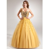 Ball-Gown One-Shoulder Floor-Length Tulle Sequined Prom Dress With Beading (018022508)