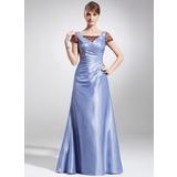 A-Linie/Princess-Linie Rechteckiger Ausschnitt Bodenlang Taft Spitze Kleid für die Brautmutter mit Rüschen (008016157)