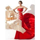 A-Line/Princess Strapless Court Train Charmeuse Prom Dress With Ruffle Beading Sequins (018005066)