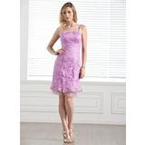 Sheath/Column Knee-Length Tulle Charmeuse Lace Bridesmaid Dress (007005289)