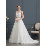 Ball-Gown/Princess V-neck Court Train Tulle Wedding Dress (002171952)