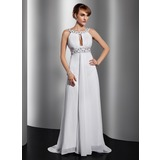 A-Line/Princess Scoop Neck Court Train Chiffon Evening Dress With Ruffle Beading Sequins (017014814)