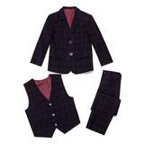 Boys 3 Pieces Plaid Ring Bearer Suits /Page Boy Suits With Jacket Vest Pants (287199777)
