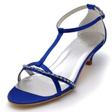 Frauen Satin Kegel Absatz Sandalen mit Schnalle Strass (047039716)