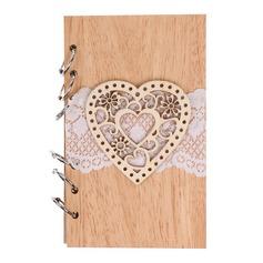 A forma di cuore/Floreale A forma di cuore/Disegno del fiore Legno Blocco per Appunti (Venduto in un unico pezzo) (051166416)