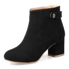 Frauen Veloursleder Stämmiger Absatz Absatzschuhe Stiefel Stiefelette mit Niete Schuhe (088153011)