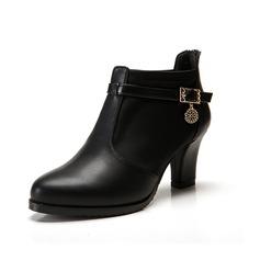 Similpelle Tacco spesso Stiletto Stivali alla caviglia con Strass scarpe (088057372)