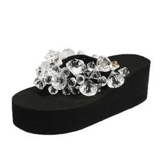 Frauen Stoff Keil Absatz Sandalen Flip Flops mit Strass Schuhe (087089802)