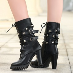 Frauen PU Stämmiger Absatz Stiefel Stiefel-Wadenlang mit Niete Schnalle Reißverschluss Zuschnüren Schuhe (088130797)
