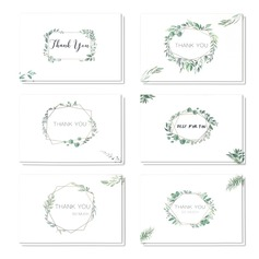 Floral Style Side Fold Thank You Cards (set Of 6) (114205150)