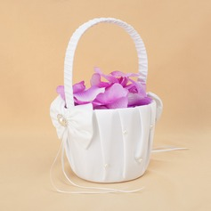 Elegant Flower Basket in Satin With Ribbon & Faux Pearl (102018096)