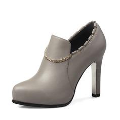 Frauen Kunstleder Stöckel Absatz Stiefelette Schuhe (088092761)