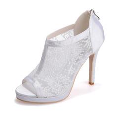 Frauen Spitze Satin Stöckel Absatz Peep Toe Plateauschuh Sandalen mit Reißverschluss Zweiteiliger Stoff (047066870)