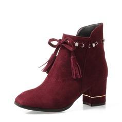 Frauen Veloursleder Stämmiger Absatz Absatzschuhe Stiefel Stiefelette mit Quaste Schuhe (088139481)