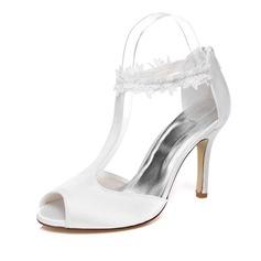 Frauen Satin Stöckel Absatz Peep Toe Sandalen mit Reißverschluss (047077204)
